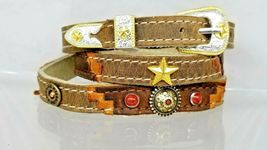 Southwest Hatband Brown+Tan Leather W Gold Star,Brass 12 Ga+Red Conchos Hat Band - $33.80