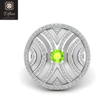 Round Cut Peridot Engagement Ring Womens Solid 925 Sterling Silver Promise Ring - $214.99