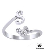 Mickey Mouse Initial Ring In White Gold Plated Pure 925 Silver Round Cut... - £21.16 GBP