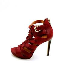 Nine West Womens Bridgider Leather Strappy Ankle Strap Sandals Burgundy 6.5M - $39.59