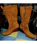 UGG Australia Sz 7 Womens 5596 Elsey Tan Brown Lace Up Shearling Wedge Boots  - $55.00