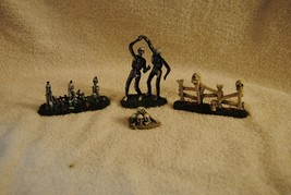 Lot of 4 Rare Lemax Spooky Town Figures Dancing Skeletons and More - $29.99