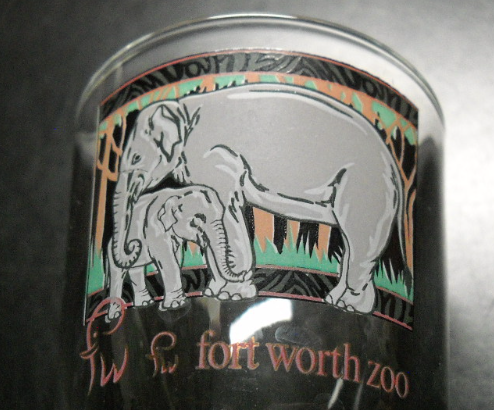 Fort Worth Texas Shot Glass Fort Worth Zoo Double Size Heavy Base Elephants