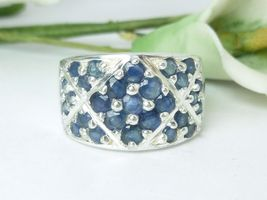 Sterling Sapphire Round Gemstone Ring Size 7 - $49.00