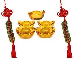 """Wenmily Feng Shui Yellow Crytal Golden Ingot / Yuan Bao 5 Pcs 1.3"""" and  ... - $9.15"""