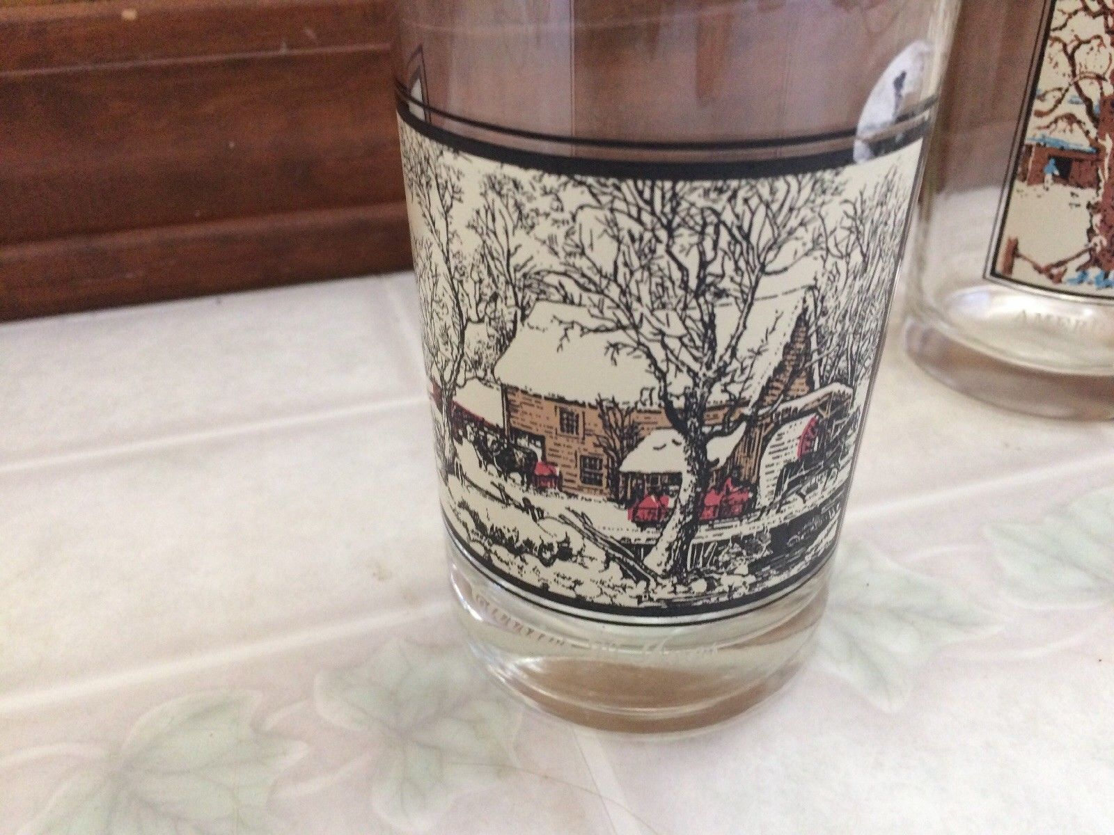 1981 Set Of 2 ARBY'S CURRIER AND IVES Tumblers Frozen Up & Homestead Winter image 2
