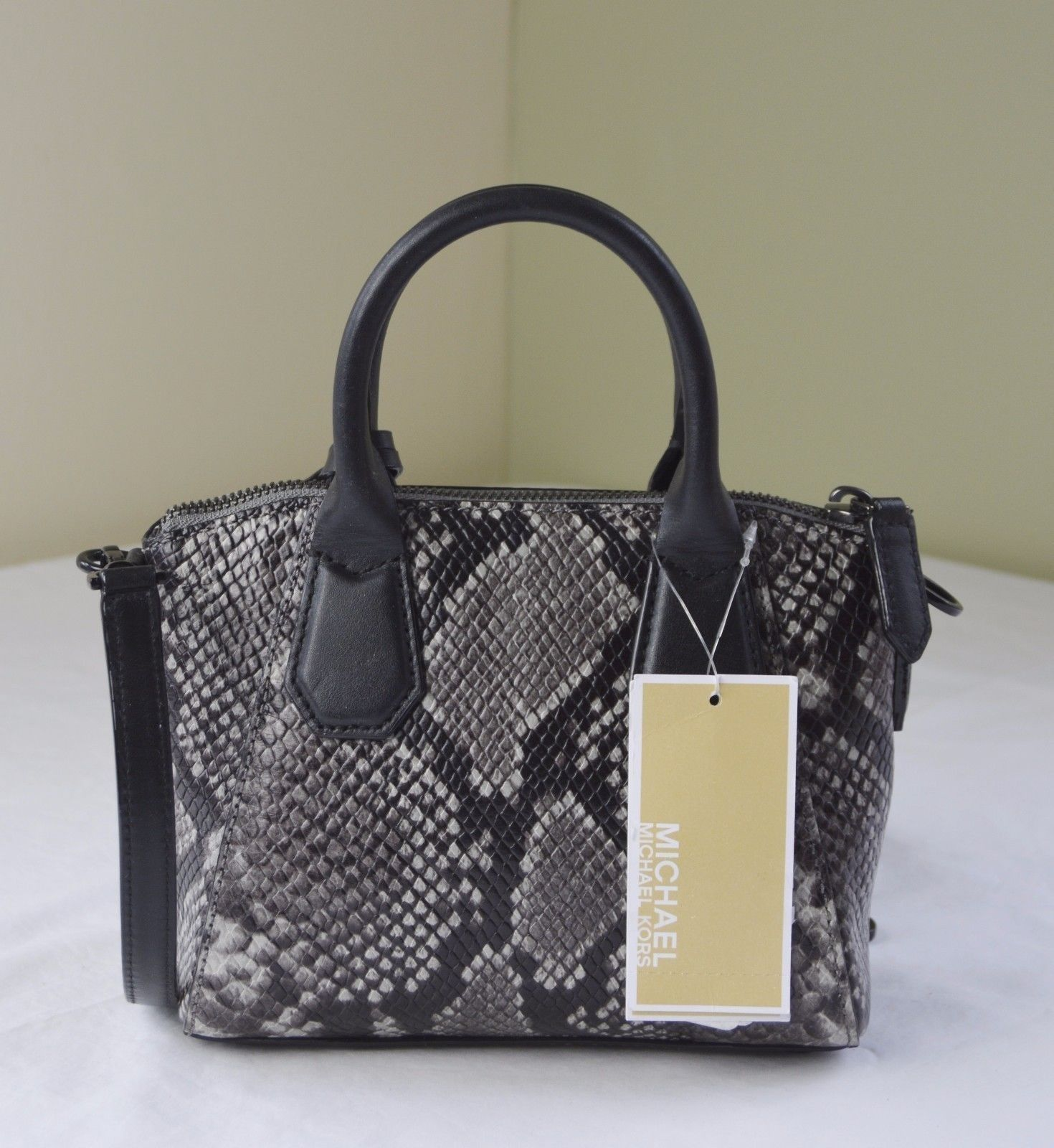 a6d24d1779eb ... Michael Kors Steel Grey Python Embossed Leather Campbell XS Satchel  Crossbody ...