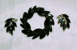Vintage Black Leaf Brooch Pin & Clip On Earrings - $17.63