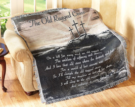 Religious Old  Rugged Cross Woven Tapestry Throw Blanket - $31.99