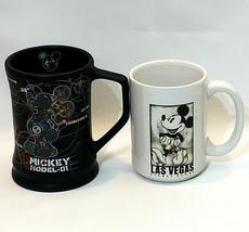 Mickey Mouse Mug Pair 2-Ceramic Coffee Mugs Disney Parks-Store Black White - $20.79