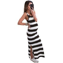 Striped Maternity Long Dress - $23.75