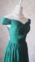 Emerald green Retro Off Shoulder Long Prom Dress Womens Green Maxi Evening Dress image 1
