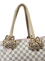 Crochet handle covers for Louis Vuitton Neverfull MM handbag Brown beige  - $53.00