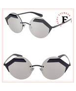 BVLGARI SERPENTEYES BV6089 Black Silver Mirror Metal Round Flat Sunglass... - $233.89