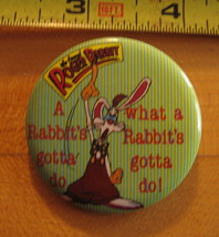 Roger Rabbit a Rabbit's Gotta Do What a Rabbit's Gotta Do Pinback Button - $5.89