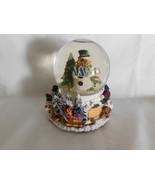 Snowmen Family Around Christmas Tree Snow Water Globe Musical 6 Inches Tall - $10.99