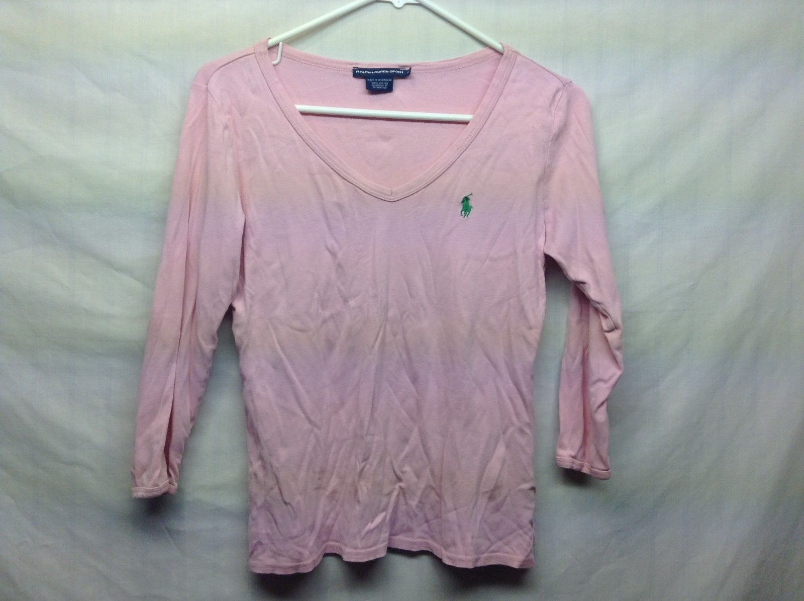 Ralph Lauren SPORT LAdies Pink V Neck POLO 3/4 Sleeve Shirt Sz M