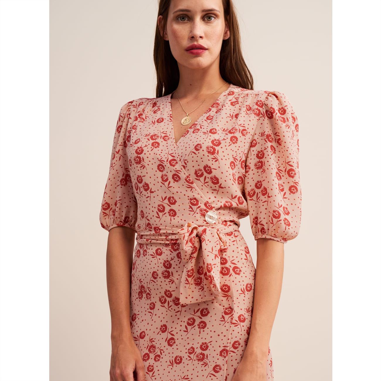 Rouje Pink Robe ROSALIE Flower Printed Wrap Midi Dress Tea Dress