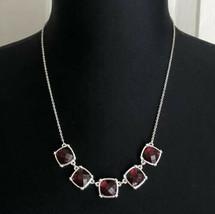 Avon Cushion Cut Collar Red Faux Stone Silver Tone Necklace - $7.91