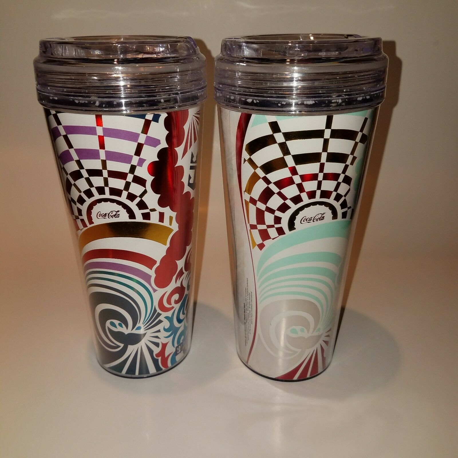 Primary image for Two Royal Caribbean Cruise Drink Package Cups Tumblers Different Designs Set 2