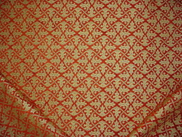 20-5/8Y ROBERT ALLEN SIENNA RED GOLD GOTHIC FLORAL CHENILLE UPHOLSTERY F... - $294.62