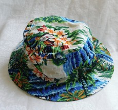 DORFMAN PACIFIC Co Bucket HAT - Blue Green Tropical Print Size: L