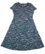 NWT Talbots 4 4P Tweed Fit & Flare Dress Stretch Teal Black White Faux L... - $26.09