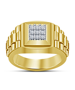 White Diamond Pinky Ring Men's 14k Yellow Gold Finish Square Shape Wedding Band - $86.99