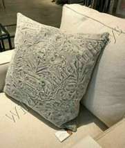 Pottery Barn Melodie Pillow Cover Ash Gray 22x22 sq Embroidered Floral  - $69.50