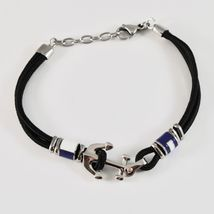 Steel Bracelet & Rope with Anchor & Cylinders Enamelled in Various Colours image 4