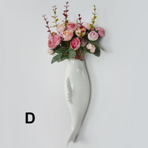 Interior Wall Hung Decorative Fish Shape Vase with Artificial Flowers Home Bar image 8