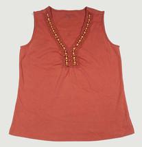CHARTER CLUB WOMENS SMALL SLEEVELESS TANK TOP BURNT ORANGE  FAUX WOOD BEADS - $10.93