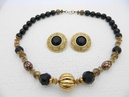 VTG ELLEN DESIGNS Signed Gold Tone Black Beaded Necklace Earring Set - $39.60