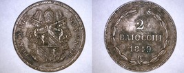 1849-IIIB Italian States Papal States 2 Baiocchi World Coin - Pius IX - $99.99