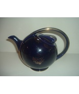 Hall China USA Airflow 0443 Blue with Gold Decoration Teapot Vintage Col... - $45.00