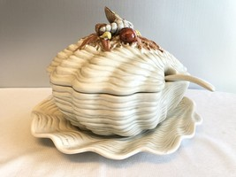 Fitz and Floyd Japan 4 Piece Soup Tureen Under Plate Laddle Sea Shell St... - $175.00