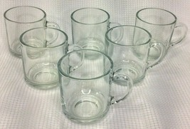 Vintage Anchor Hocking Clear Flat Coffee Cup Mug Set of 6 - $33.75