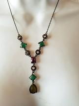 "Avon Y Pendant Necklace 20"" Green Rhinestone Look Metal Rings Victorian ... - $9.69"