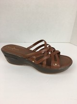 Cole Haan Womens Air Ezra Slide Sandals 11 Brown Leather Strappy Platfor... - $53.99