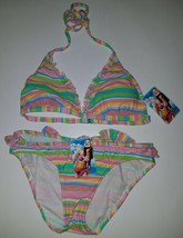 NWT Xhilaration Bikini 2-Pc Padded Top Bottoms Juniors Small Pink Stripe... - $18.76