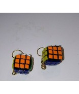 Miniature Rubik's Cube Inspired Charm Earrings Gold Tone Wire Retro Toys... - $6.00