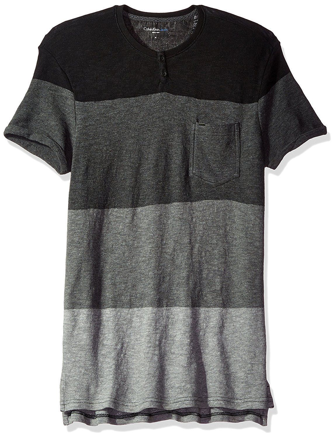 Calvin Klein Jeans Mens Short Sleeve Slub Slit Neck T-Shirt, Small, Black 3078-3 - $36.56