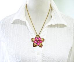Rhinestone Filigree Pendant Necklace, Flower Pendant, Fuchsia Pink Caboc... - $19.00