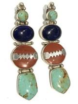 VINTAGE Darla N Chunky Sterling Silver Turquoise, Jasper, Blue Stone Earrings - $98.01