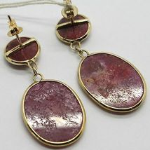 YELLOW GOLD EARRINGS 9K WITH RUBIES ROUGH MADE IN ITALY PIECE SINGLE image 4