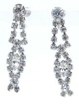 VTG Rhodium Plated Clear Rhinestone Art Deco Style Dangle Screwback Earrings - $29.70