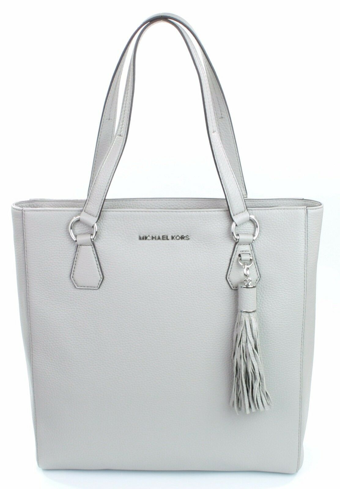 Primary image for Michael Kors Bedford Leather Pearl Grey Shopper Tote Bag Large Handbag
