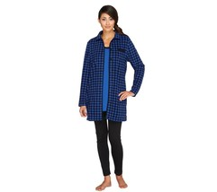 Carole Hochman Pajama Fleece Jacket Knit Top Leggings Cobalt P2X NEW A25... - $39.58