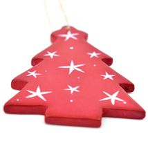 Undugu Society Hand Carved Soapstone Red Christmas Tree Holiday Ornament image 3