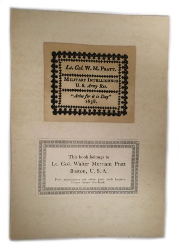 Ex Libris Book Plate Exlibris Lt. Col Military Intelligence Walter Pratt
